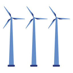 Wind turbine generator wind farm three flat powerstation