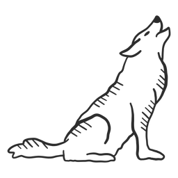 Lobo aullido oreja depredador cola doodle animal