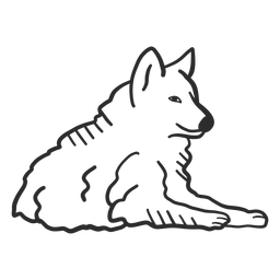 Lobo uivo orelha predador deitado doodle animal