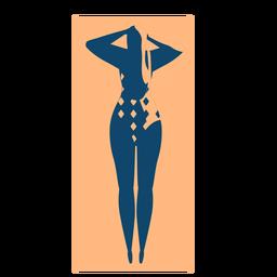 Mujer estera alfombra acostado detallada silueta verano
