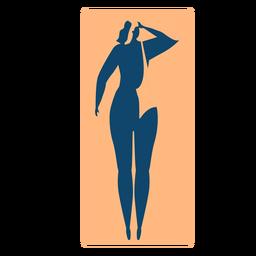 Liegender ausführlicher Schattenbildsommer der Frauenteppichmatte