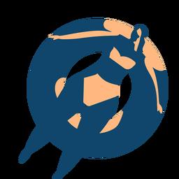 Mujer nadando natación anillo natación círculo silueta detallada verano