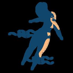 Mulher natação onda óculos silhueta detalhada verão