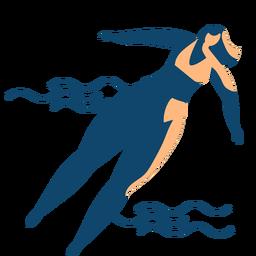 Onda de mulher nadando verão silhueta detalhada