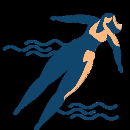 Ola mujer nadando silueta detallada verano Transparent PNG