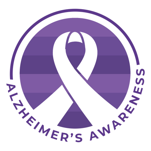 Alzheimer's awareness ribbon badge sticker Transparent PNG