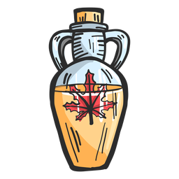 Ânfora pote líquido folha maple colorido desenho
