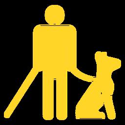 Pessoa cega cão bastão silhueta detalhada