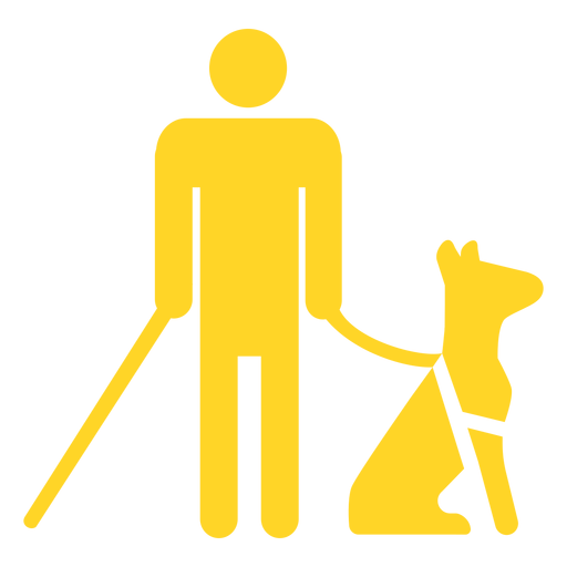 Blind person dog stick cane detailed silhouette