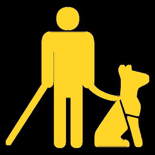 Persona ciega perro palo bastón silueta detallada