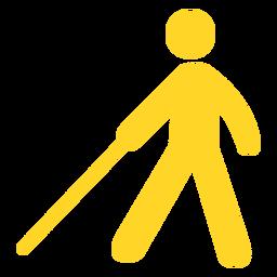 Silhueta de bastão de pessoa cega