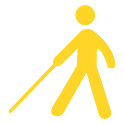 Silueta de bastón de palo de persona ciega