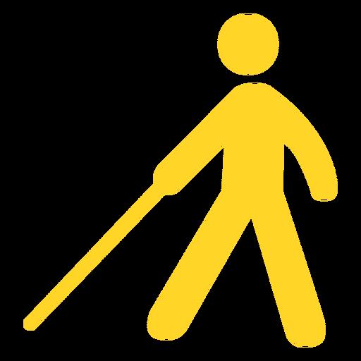Blind person stick cane silhouette
