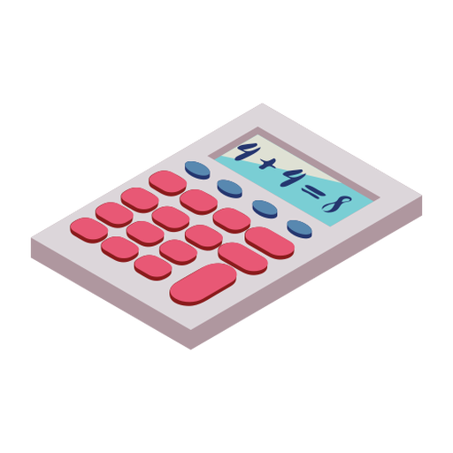 Calculator button four eight addition flat Transparent PNG
