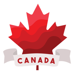 Canada ribbon maple leaf badge sticker