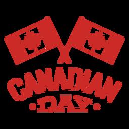 Etiqueta do emblema do bordo da folha da bandeira do dia canadense