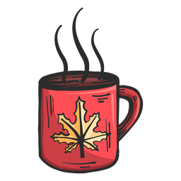 Cup steam leaf maple colored sketch