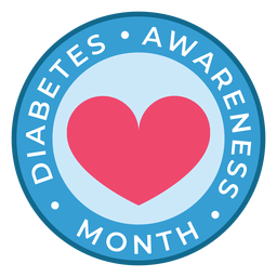 Diabetes conciencia mes corazón insignia