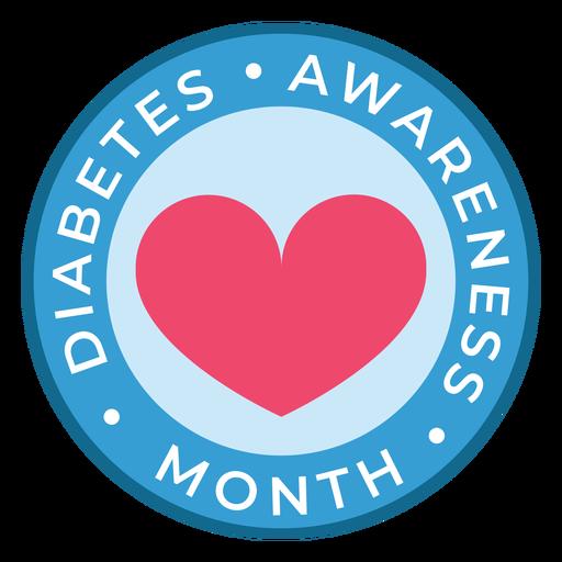 Etiqueta engomada de la insignia del corazón del mes de concientización sobre la diabetes