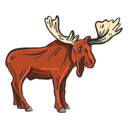Elk moose antler colored sketch