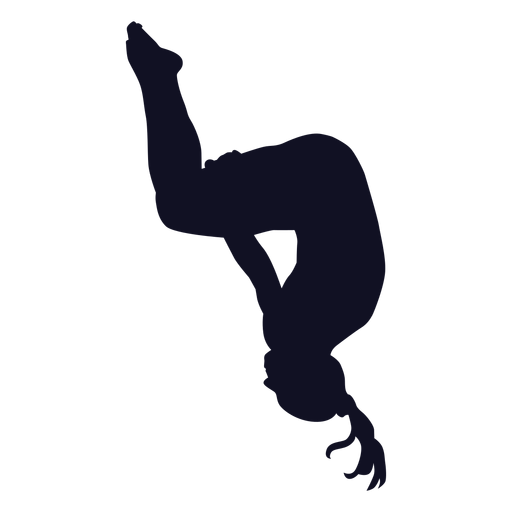 Exercise gymnast woman somersault silhouette Transparent PNG