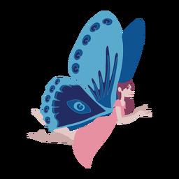 Asa de fada voando plana