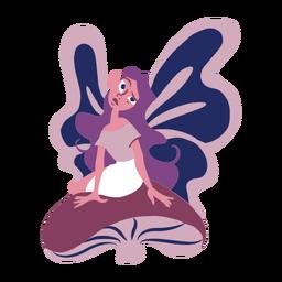 Fairy wing sitting mushroom flat