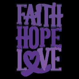 Crachá de etiqueta de fita de amor de esperança de fé