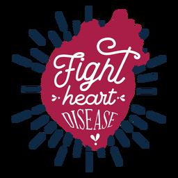 Etiqueta engomada de la insignia del corazón de la enfermedad del corazón de la lucha