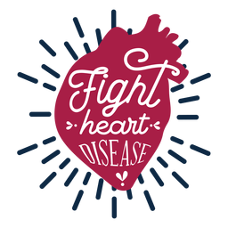 Fight heart disease heart badge sticker