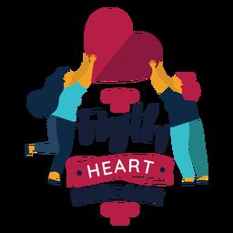 Lucha contra la enfermedad cardíaca corazón mujer insignia
