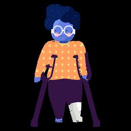 Óculos de menina muleta vermelhidão pessoa deficiente plana