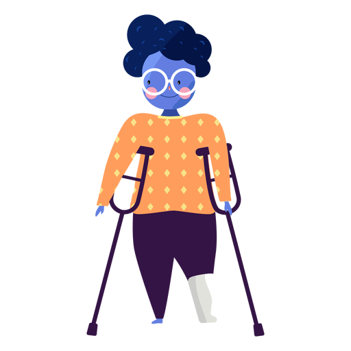 Girl glasses crutch ruddiness disabled person flat Transparent PNG