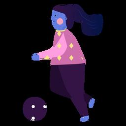 Girl ruddiness ball running flat