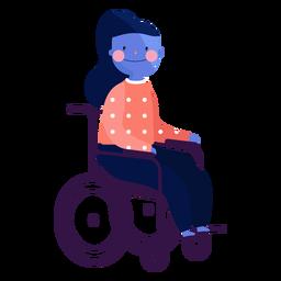 Cadeira de rodas de menina com vermelhidão pessoa deficiente plana