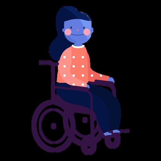 Chica silla de ruedas ruddiness persona discapacitada plana