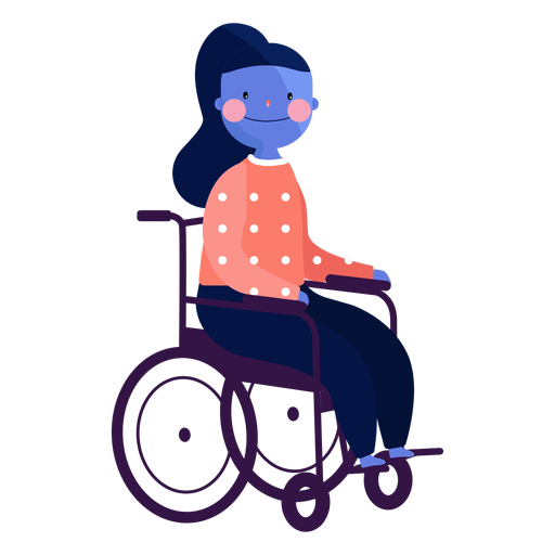 Girl wheel chair ruddiness disabled person flat Transparent PNG