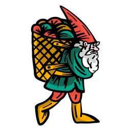 Gnome barba enana gorra cesta plana