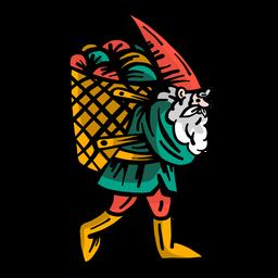 Gnome beard dwarf cap basket flat