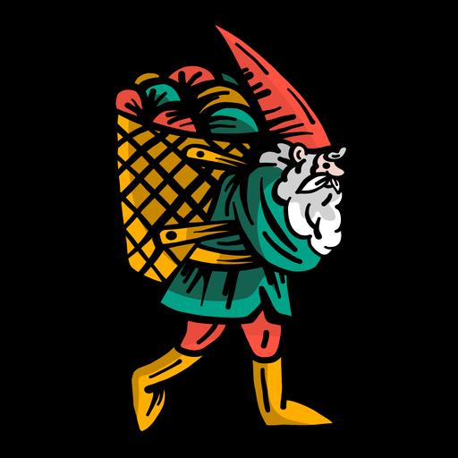 Gnome barba enana gorra cesta plana Transparent PNG