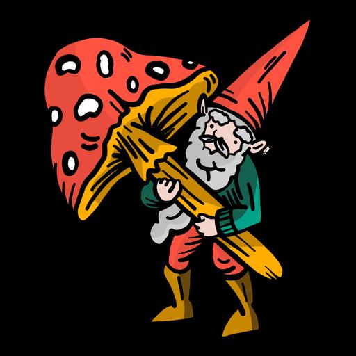 Gnome beard dwarf cap mushroom flat Transparent PNG