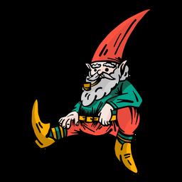 Gorro de enano barba gnomo sentado plano