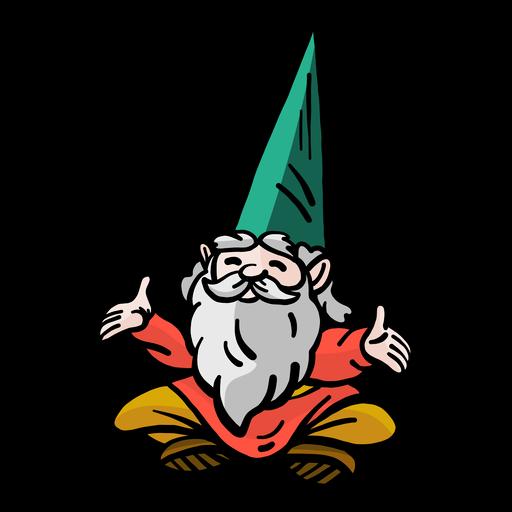 Gorro de barba enano gnomo sentado plano Transparent PNG