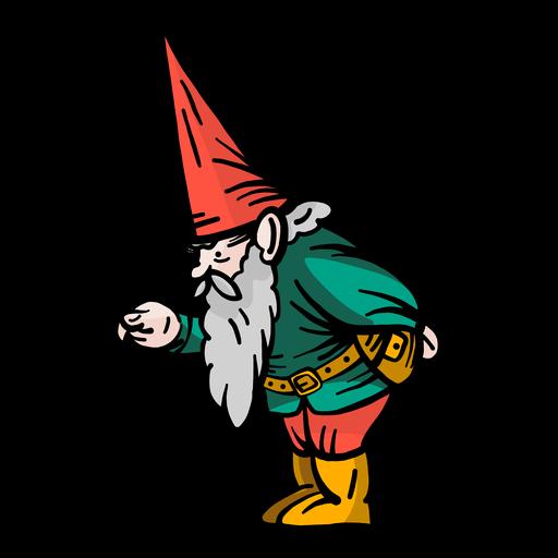 Gnome dwarf cap beard flat Transparent PNG