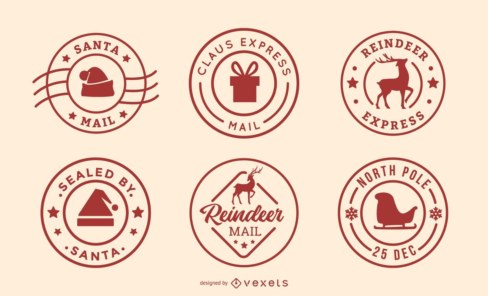 Conjunto de postales de Navidad