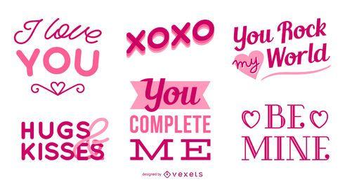 Conjunto de letras de dia dos namorados