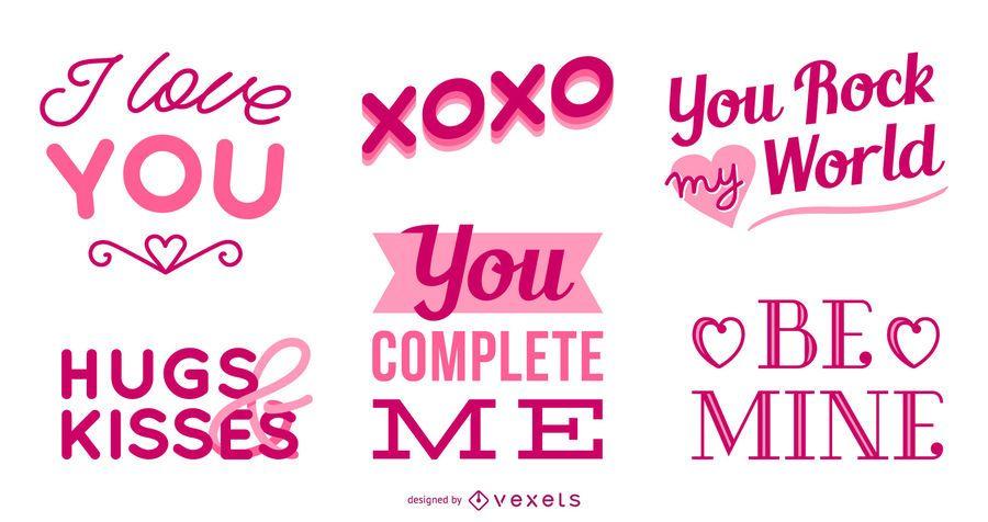 Conjunto de letras do dia dos namorados