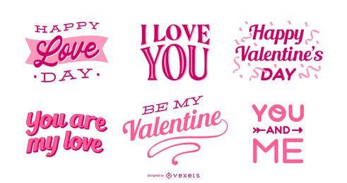 Valentines Schriftzug Set