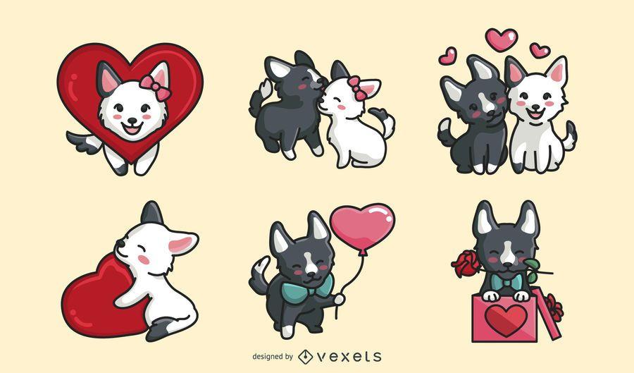 Conjunto de cães de dia dos namorados