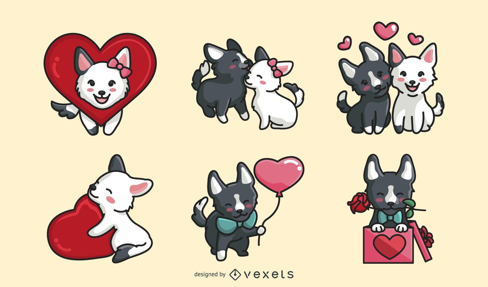 Conjunto de perros de san valentín
